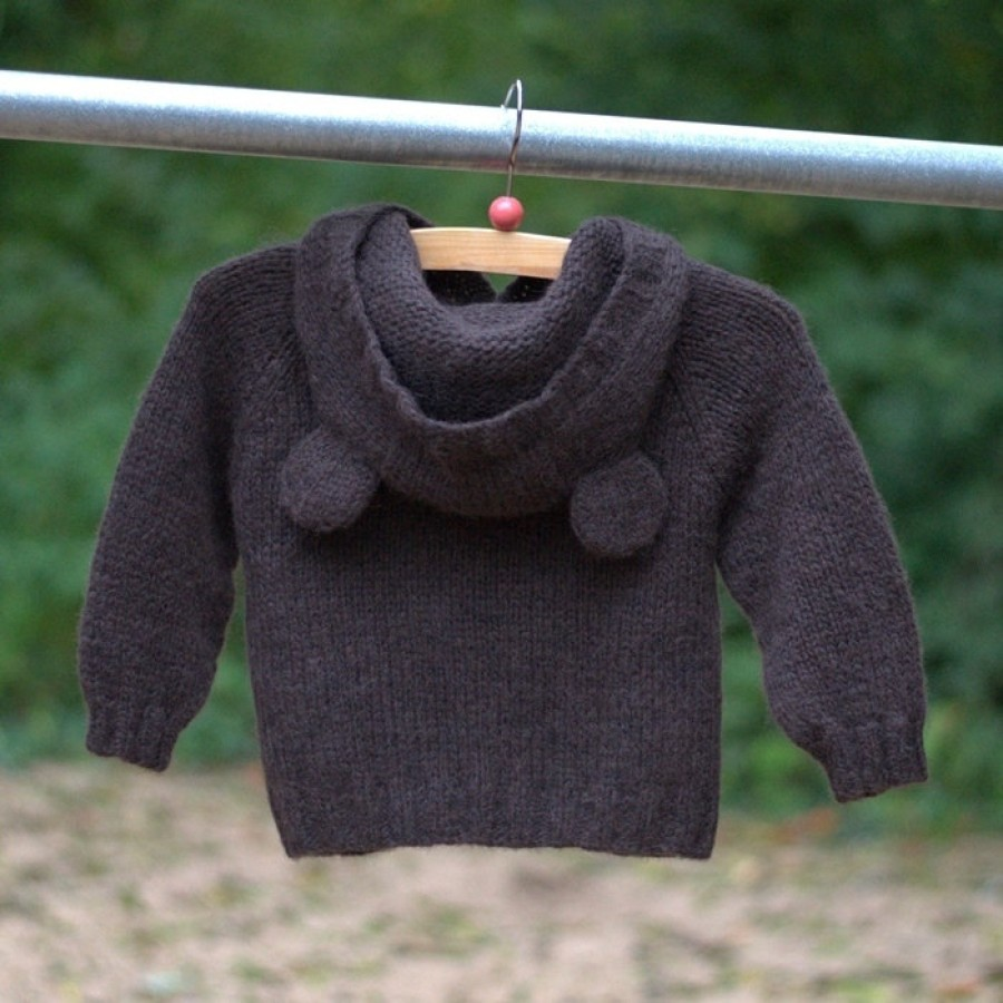 """Hand knitted soft Cardigan """"Hooded Bear"""""""